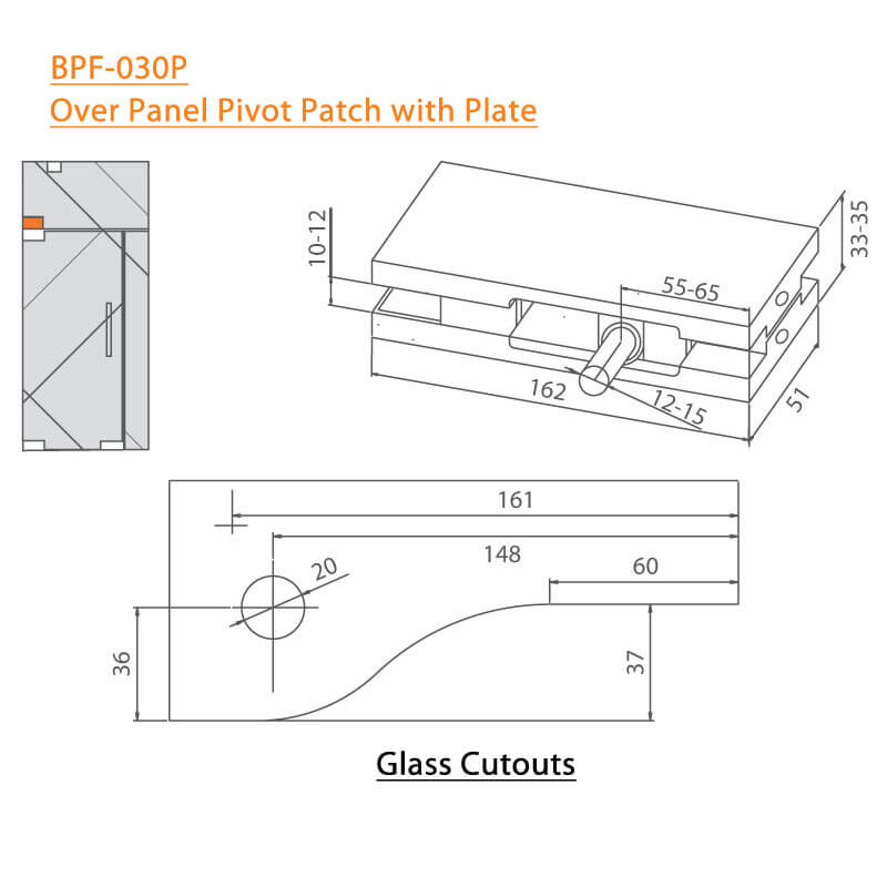 BTL BPF-030P Over Panel Pivot Patch With Plate