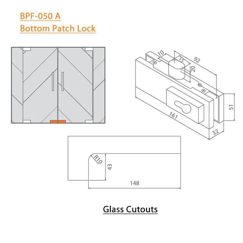 BTL BPF-050A Bottom Patch lock For Glass Door