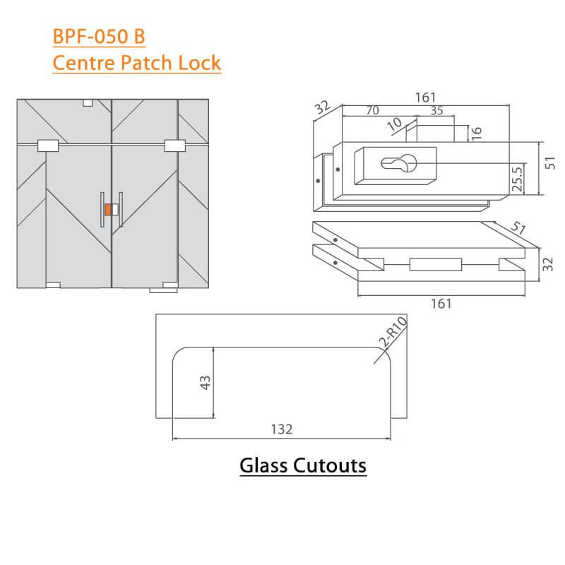 BTL BPF-050B Centre Patch Lock For Glass Door