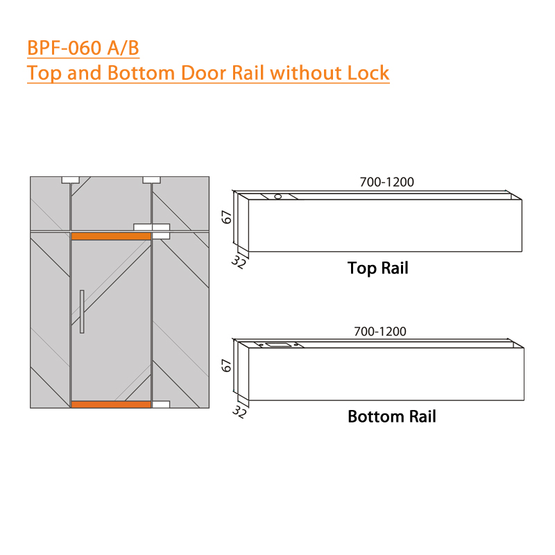 BTL BPF-060-AB-1mtr Top and Bottom Door Rail without Lock 1 MTR - Specifications