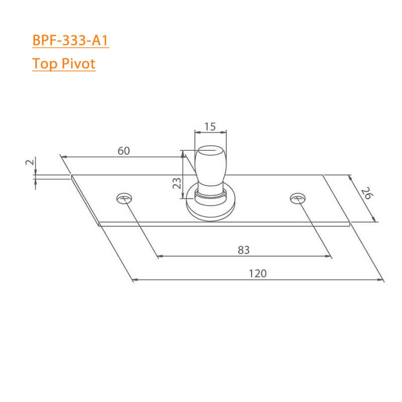 BTL BPF-333-A1 Top Pivot for Patch fittings - Specifications
