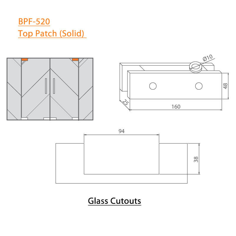BTL BPF-520 Solid Top Patch Fitting For Glass  - Specifications