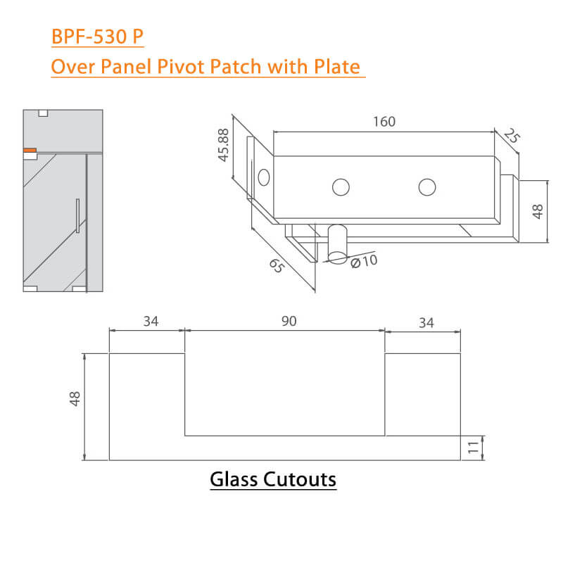 BTL BPF-530-P Over Panel Pivot Patch With Plate for glass - Specifications