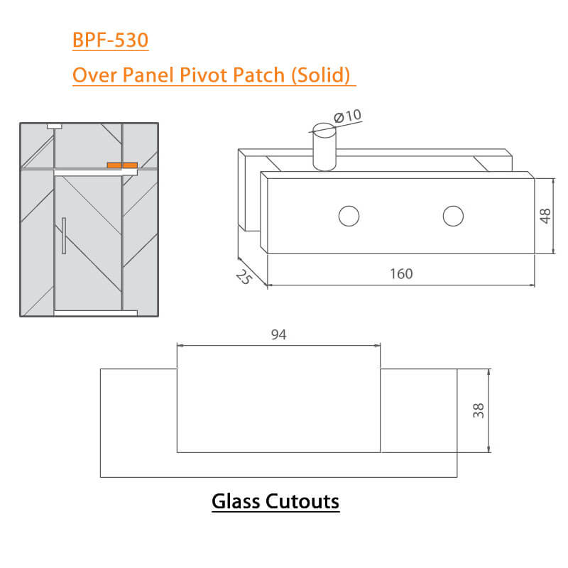 BTL BPF-530 Over Panel Pivot Patch-Solid For Glass - Specifications