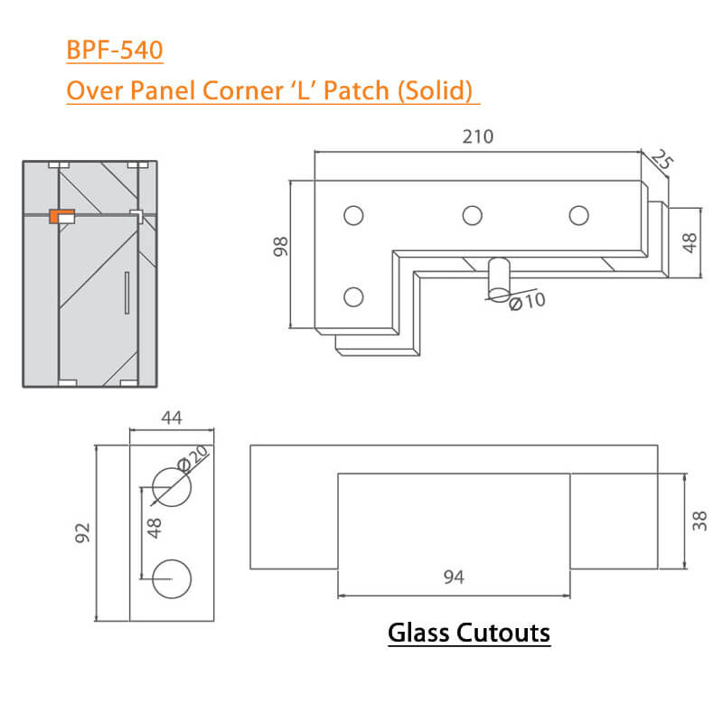BTL BPF-540 Over Panel Corner L Patch Solid For Glass - Specifications