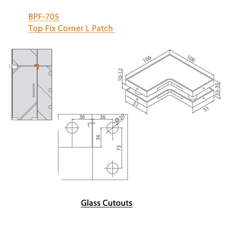 BTL BPF-705 Top Fix Corner L Patch For Glass Door