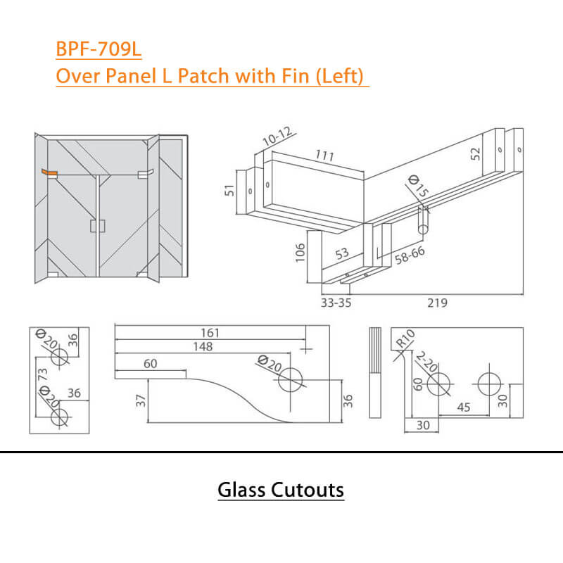 BTL BPF-709L Over Panel L Patch with Fin Left For Glass Door