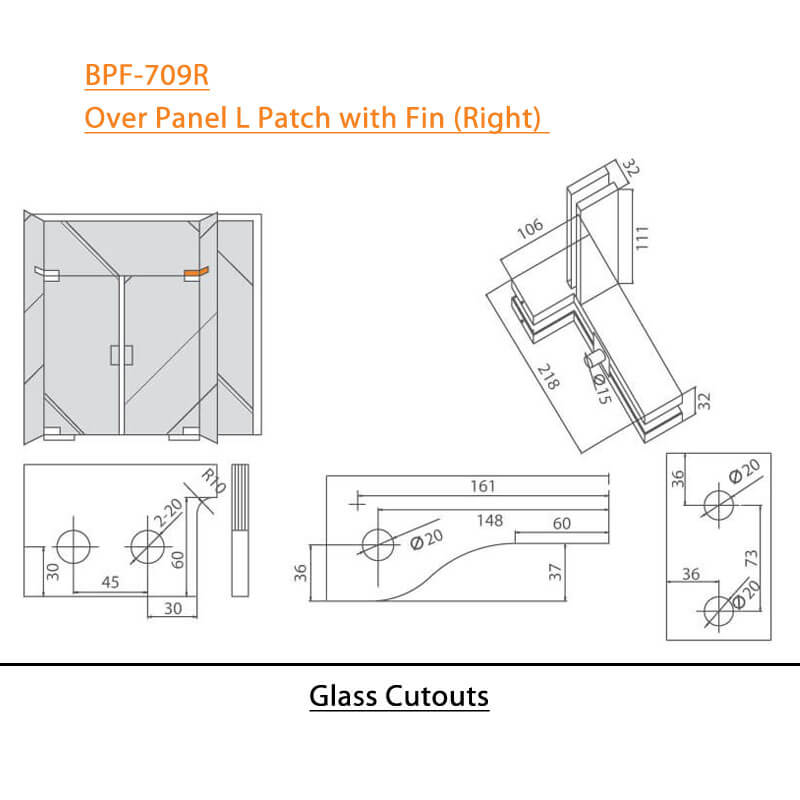 BTL BPF-709R Over Panel L Patch with Fin Right For Glass Door