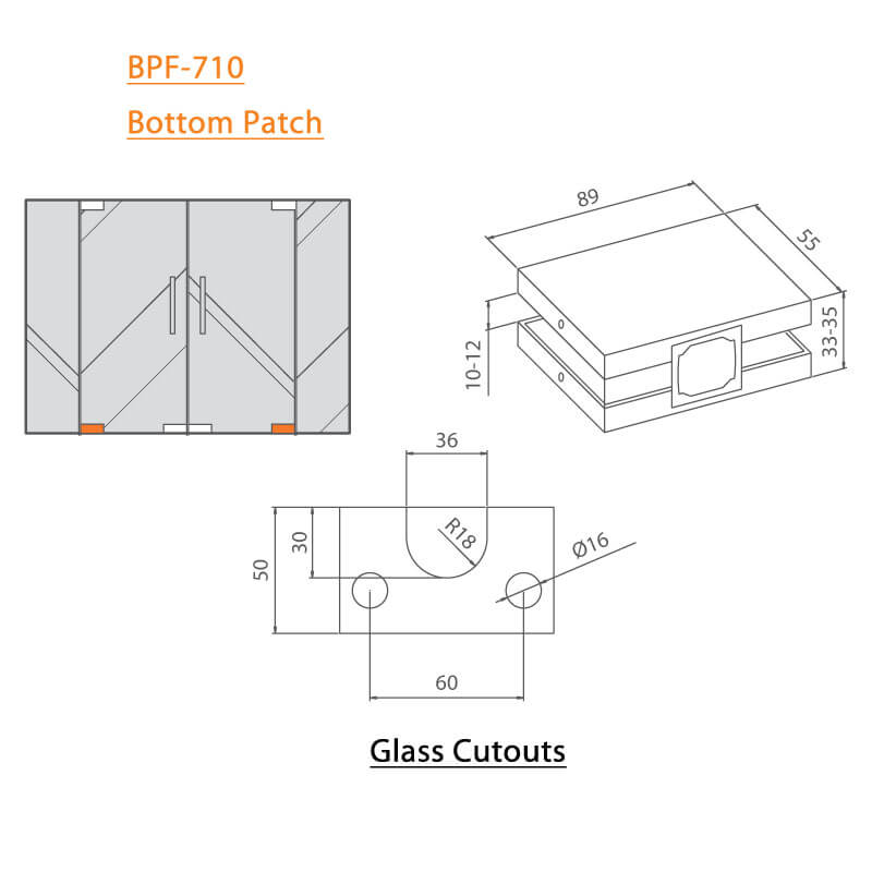 BTL BPF-710 Solid Sleek Bottom Patch For Glass - Specifications