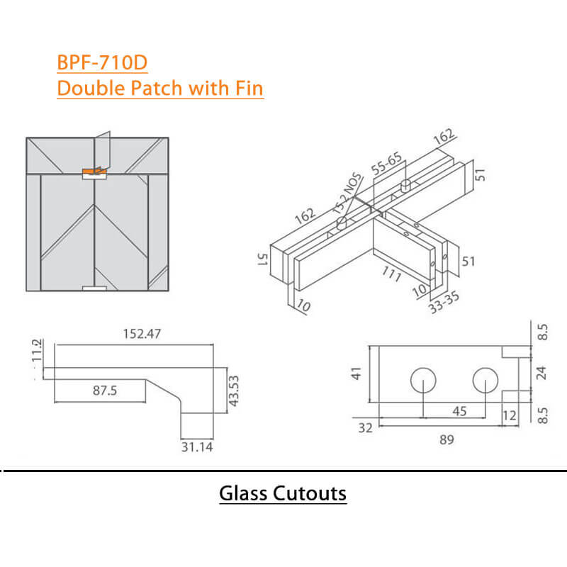BTL BPF-710D Double Patch with Fin For Glass Door