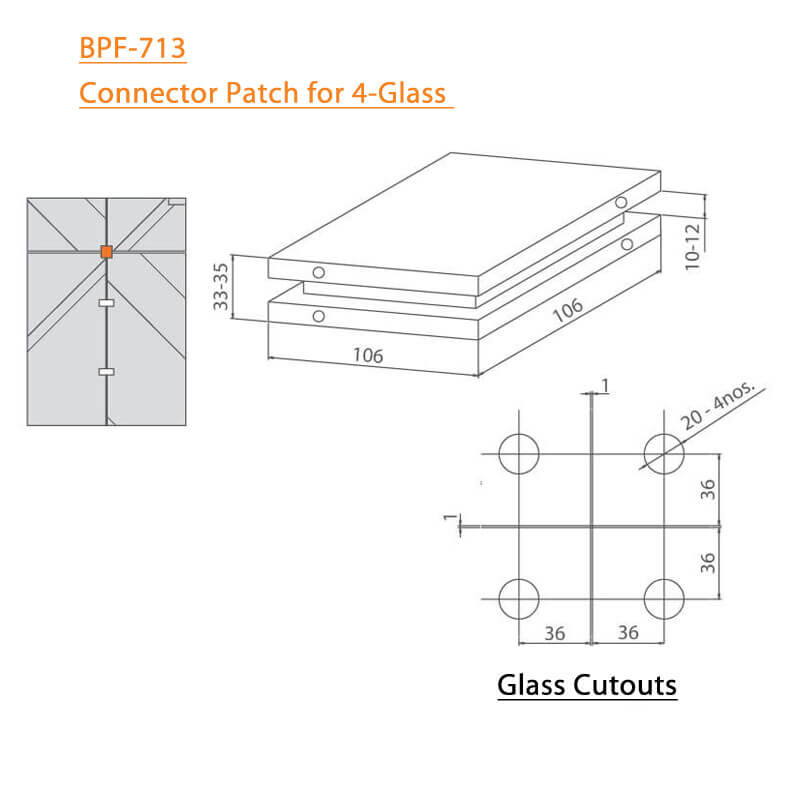 BTL BPF-713 Connector Patch for 4 Glass