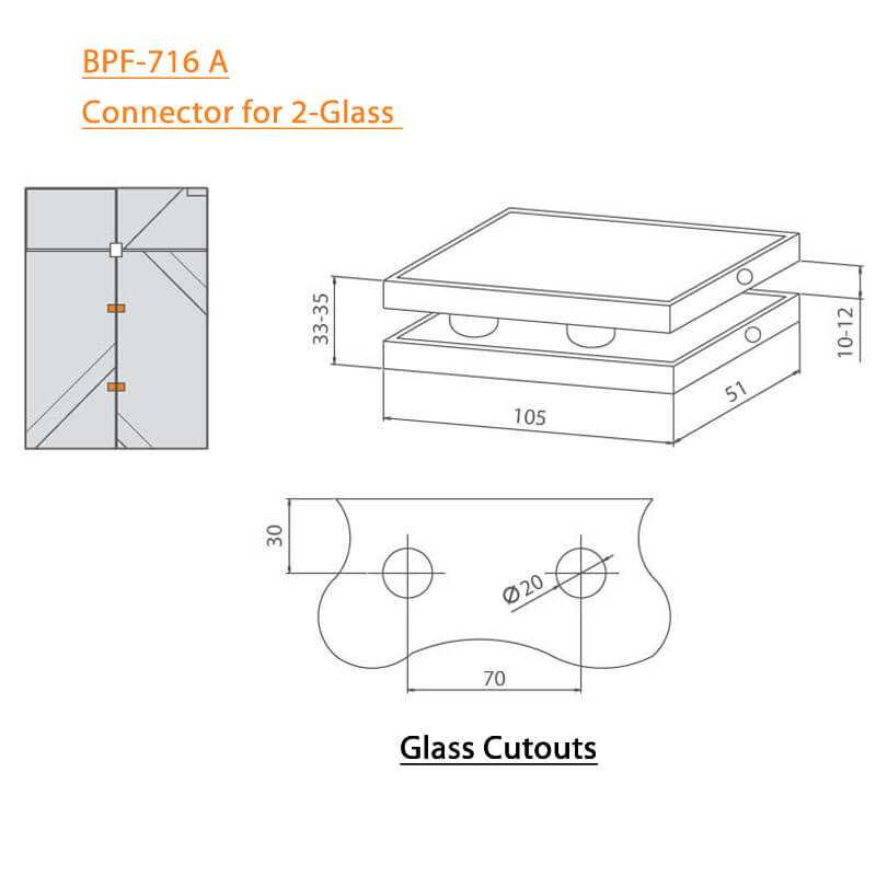 BTL BPF-716A Connector for 2 Glass - Specifications