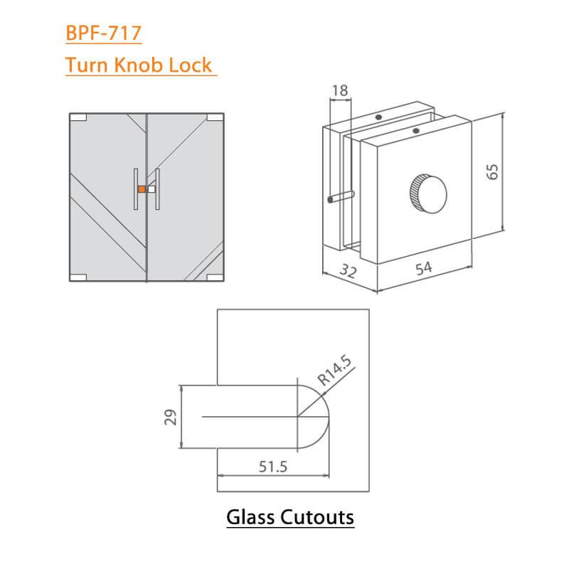 BTL BPF-717 Turn Knob Lock - Wall-Floor To Glass - Specifications