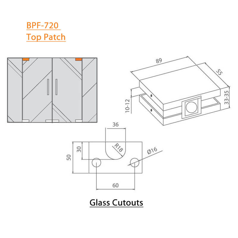 BTL BPF-720 Top Patch - Sleek - Solid For Glass - Specifications