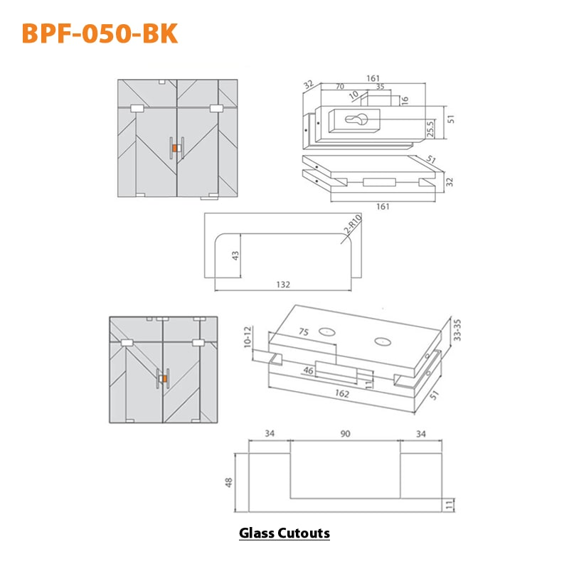 BTL BPF-050-BK Centre Patch Lock For Glass to Glass