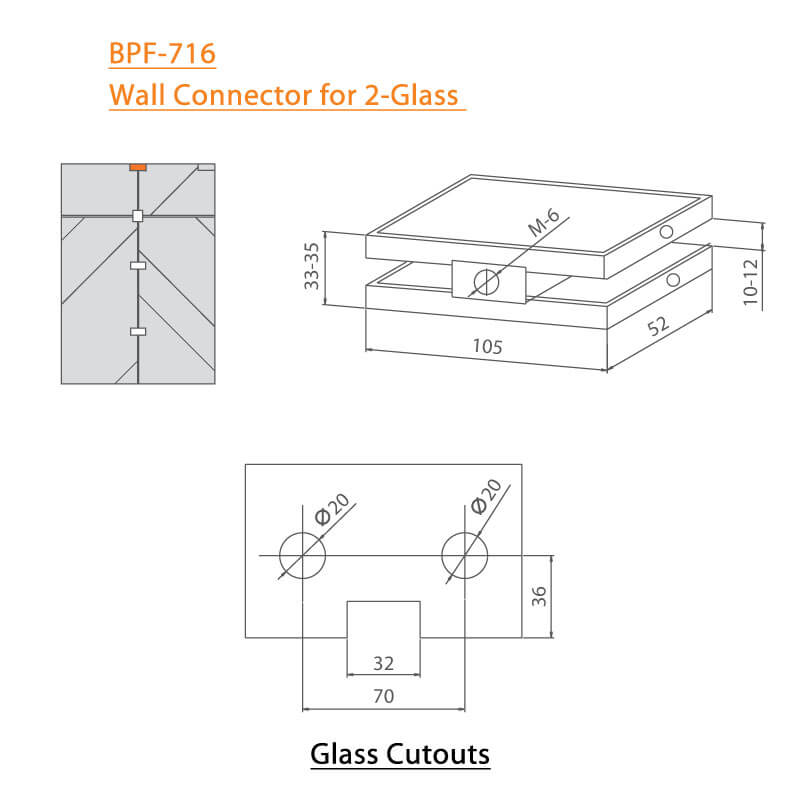 BTL BPF-716 Wall Connector for 2 Glass